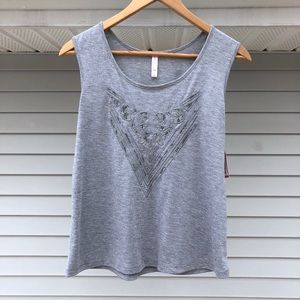 NWT Lace Cut Out Design Gray Tank